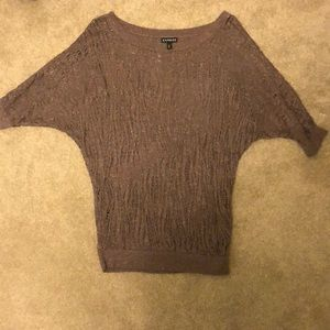 Brown sheer lightweight sweater with sparkle.